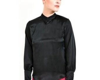CHARLOETTE- Black Silk Satin Shirt