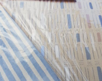 Stiped Geometric Blue and Beige Vintage Single Twin Flat Sheets x 2 - Set 1
