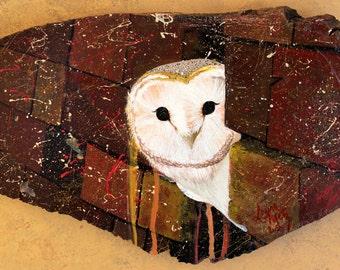 Rustic Owl Painting - Acrylic Painting on Wood Slice