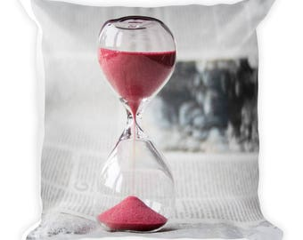 Red Sand Hourglass Square Pillow