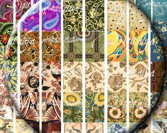 Trendy & Vintage Designs for Mahjong (1) Digital Collage Sheet - Mahjong Tiles 0.67x1.06 inch - 17x27 mm - see promo - Instant download