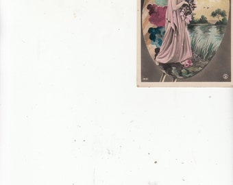 """Full Portrait French Actress/Theater Antique Postcard """"Mieris"""" Set Againist Large Scenic Easel Paint And Brushes"""