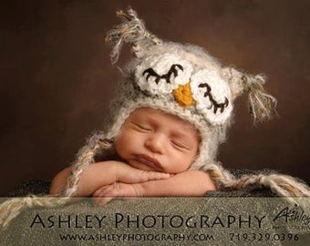 READY TO SHIP Newborn Sleepy Baby Owl Hat Photo Prop or Halloween Costume-Crocheted in your choice of colors