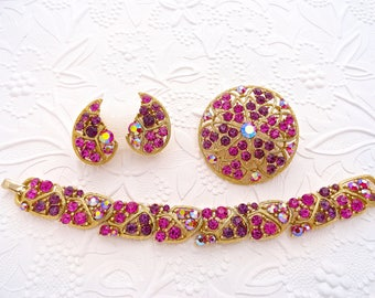Lisner Mint Fusha Pink Purple Amethyst Mosaic Rhinestone Bracelet Brooch Earring Demi Parure Set