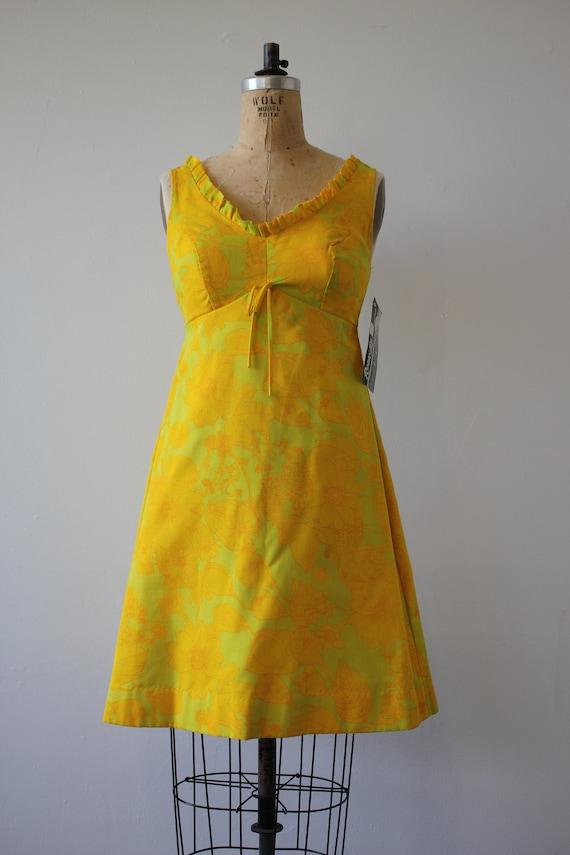 beach dress 60s dress swim dress med sun Len not dress Robbie 60s 1960s small vintage wear smocked 60s dress 60s floral yellow Z05AqA