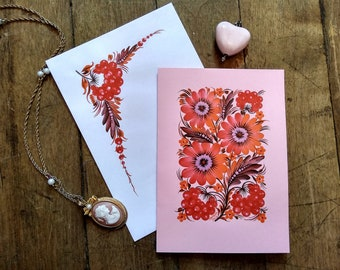 Hand-painted postcard Petrykivka art style Gift for any occasion Handmade postcard