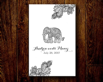 Indian Wedding Program, Paisley Elephant Design, Folded Custom 1 Page Front and Back Hindu / Western Ceremony Sheet or Sign in Any Color