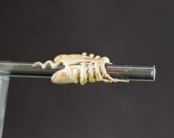 Facehugger Glass Straw in Charcoal & Caramel, #710
