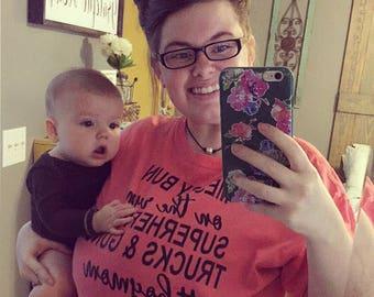 Messy bun #boymom mom t shirt