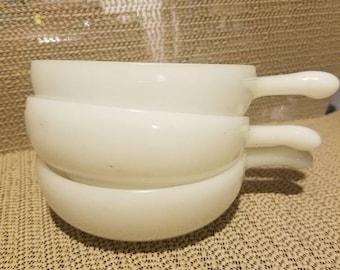 3 vintage milk glass handled bowls