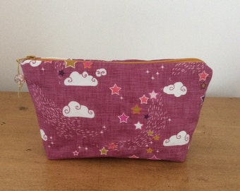 Makeup pouch, notions pouch, knitting notions storage, gift, linen, canvas, clouds and stars, pink