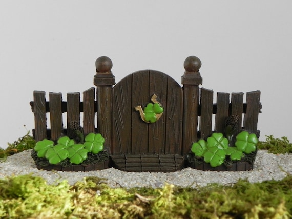 Fairy Garden Gate With Shamrock, Miniature Garden Gate Fence ONE Piece, St.  Patricku0027s Day Miniature Garden Accessory, Mini Garden Supply From ...