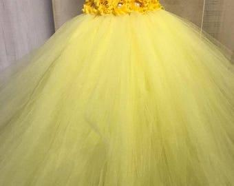 Flower girl dress - Tulle flower girl dress -Yellow Dress - Tulle dress-Infant/Toddler - Pageant dress - Princess dress -Yellow flower dress