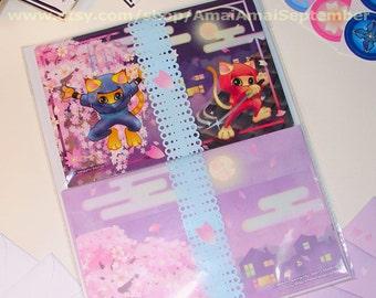 4x5 or 5x7 Ninja Kitties & Cherry Blossoms Folded Card. cat kitten animal pet cute sword katana sakura stationery art message picture