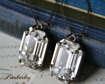 Emerald Cut Swarovski Crystal Earrings, Estate Style Earrings, Vintage Style, Emerald Cut Earrings
