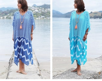 Beach Kaftan - Large size long Beach Cover up. Chevron print maxi caftan in Blue or Teal