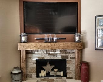 Rustic Chunky  6 Foot Hand Hewn Solid Pine Fireplace Mantel with Legs