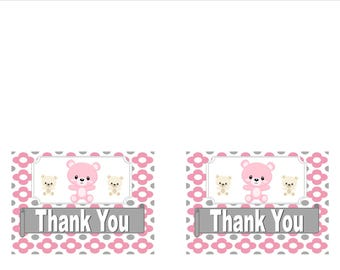 Baby Shower Pink and Gray Teddy Bear Thank You Cards