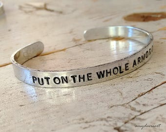 Whole Armor of God Bracelet, Christian Jewelry, Hand Stamped Jewelry, Ephesians 6, Aluminum Cuff Bracelet, Bible Verse Jewelry, Gift for Her