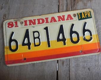 Vintage License Plate Indiana 1980s Metal Rustic Sign Patina Decor Auto Car Collectible Man Cave Garage Bar Pub Decor
