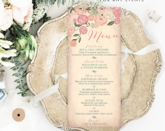 ANY EVENT // Floral Menu, Printable Menu, Wedding Menu, Bridal Shower Menu Printable, Baby Shower Menu Printable No.30BRIDE