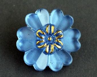 Czech Glass Button, Crystal Blue Gold Flower Brass Shank Button 22mm