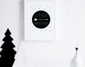 Little Brother Art Print, Arrows Print, Little Boys Room Decor, Modern Black and White Monochrome Nursery Wall Art, Little Brother Decor