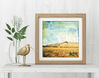 """Desert Print: Mixed Media Photography, New Mexico Print, Ghost Ranch Print, Abiquiu NM, buttes,  8""""x8"""" or 12""""x12"""" print, """"Constellation"""""""