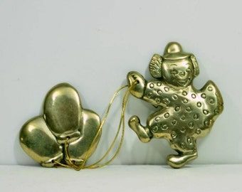 Vintage Brass Clown with Balloons Nursery Room Wall Hanging