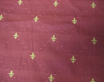 """1 1/2 Yds @ 58"""" wide 'Cayenne' red with gold embroidered fleur de lis upholstery fabric"""