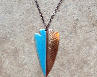 Torched Copper and Enamel Arrowhead Necklace
