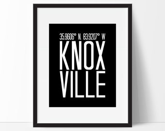 Knoxville Art Print, Knoxville Tn, Knoxville Wall Art, Knoxville Tennessee, Tennessee Art, City Art, Knoxville Coordinates, Tennessee Decor