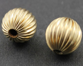 Gold Filled 6 mm Corrugated Round Bead with 1.5 mm Hole,1 Piece, Sold INDIVIDUALLY, Just buy as many you need,(GF/560/6)