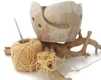 Beige Pottery Crochet  Bowl, Knitting Bowl, Crystalline Glazed, Ceramic Yarn Bowl, Knitting Supplies