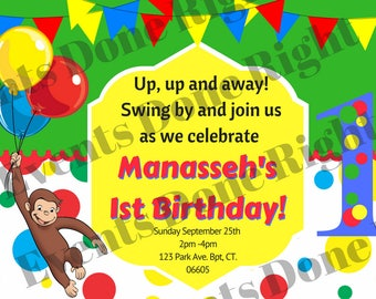 Curious George Invitation Birthday Party Decorations Man with the Yellow Hat Monkey Balloons Red Green Blue Yellow