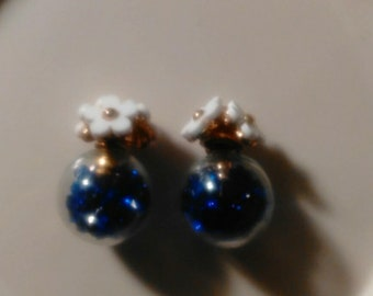 Double Sided Blue and White Floral Stud Earrings with Rhinestones