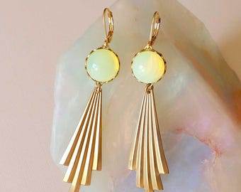 Opal Yellow Earrings - Art Deco Style Earrings - Geometric Earrings - Yellow and Gold Earrings - Aurora Earrings (SD1259)