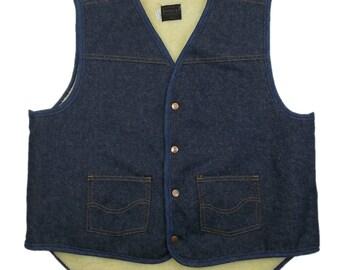 Sears Roebucks Denim Jacket (XL) Blue Sleeveless Sherpa Acrylic Fleece Gilet Vest Vintage Excellent