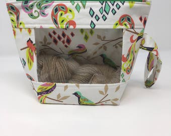 Knitting and Crochet project bag -  peekaboo regular size - geo birds