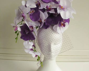 SALE * * * Orchids Headdress purple white with netting veil fascination wedding bridal Formal floral headpiece