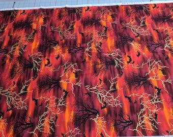Halloween Bats and Lightning Cotton Fabric