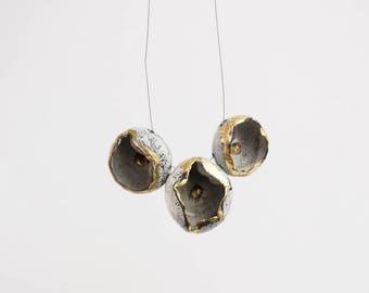 Ceramic necklace (sea urchin inspired forms). Handmade ceramics. Unique piece