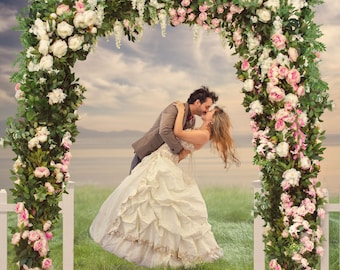 2 wedding | flower arch | white picket fence | free color overlay to blend | cute | Digital background | digital backdrop | spring | kiss