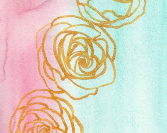 Watercolor Gold Roses