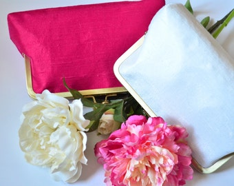 Bridesmaid Gift Custom Silk Fuchsia and White Wedding Clutches Bags Customize Your Lolis Creations Clutch Purse Personalized Bags