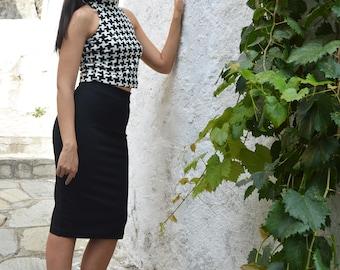 Two Piece Set, Woman Outfit, Black Skirt, Black White Top, Skirt Top Set, Woman Crop Top, Pencil Skirt, Women Skirt, Women Top, Midi Skirt