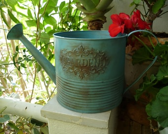 shabby chic,grungy turquoise watering can,embossed garden,fixed rose & carrying handle