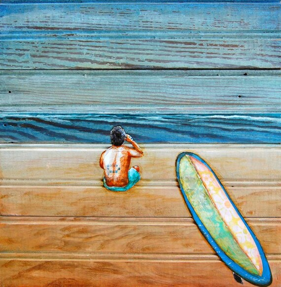 "Surfboard, beach, man - ""The Great Beyond"" - Fine Art Print , All Sizes"