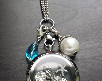 Ocean Floating Locket Necklace-Includes Locket, Chain, Floating Charms, Crystal & Pearl Dangles-Gift Idea for Women