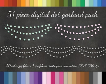 51 Piece Dot Garland Clipart Pack - 50 Colors +EPS Vector - Digital Scrapbook Cardmaking Tier Garland Design Element Circle Garland Clip art
